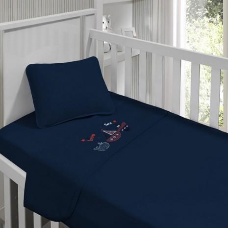 Jogo de lençol menino Kinder Bordado Naval 90 cm x 1,70m
