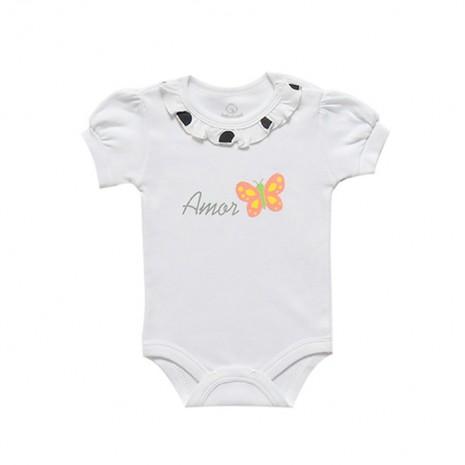 Body bebê menina manga curta estampa amor borboleta