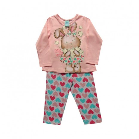 Pijama infantil menina manga longa Coelhinha