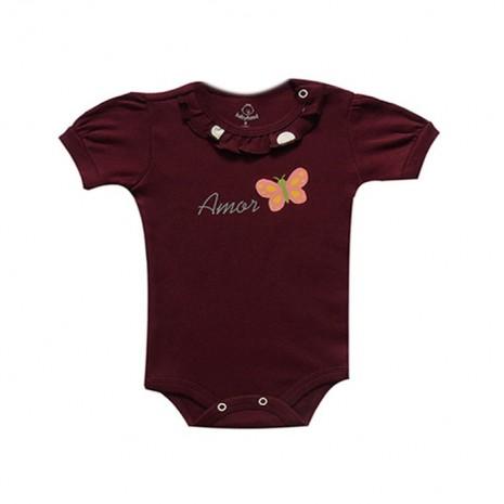 Body bebê menina manga curta amor borboleta