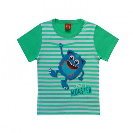 Camiseta infantil menino com listra de monstrinho