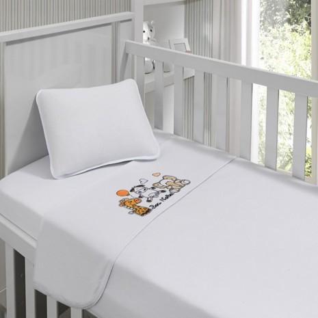 Jogo de lençol menina bordado em Bichos 90 cm x 1,70m