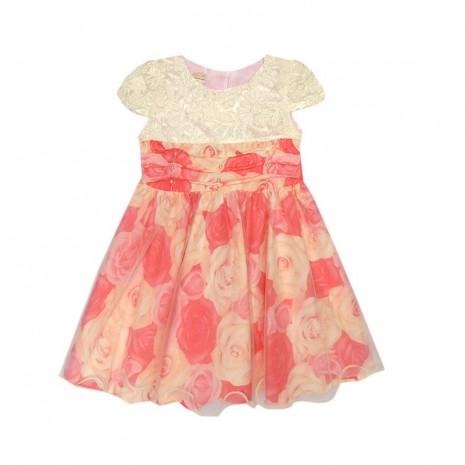 Vestido infantil menina com estampa de rosas vermelhas