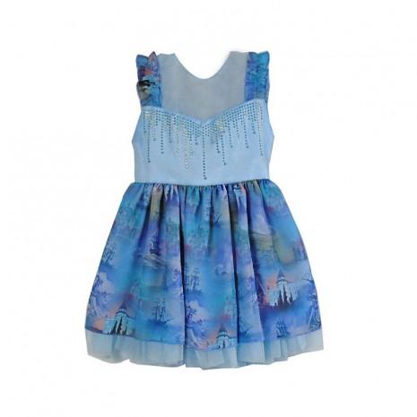 Vestido infantil menina com estampa de castelo