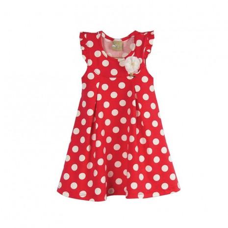 Vestido infantil menina com bolinhas vermelhas