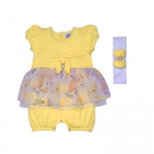 Macacão para bebê menina Flowers Yellow manga curta