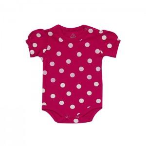 Body bebê menina manga curta com bolinhas branca