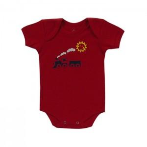 Body para bebê menino com estampa de trenzinho