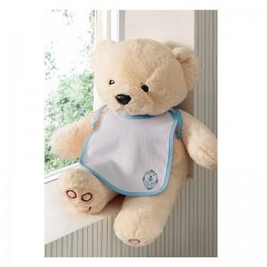 Babador infantil menino bordado Urso Brasão 20cm x 25cm