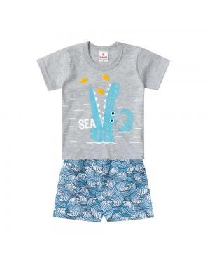 Conjunto bebê menino camiseta e bermuda Brandili SEA