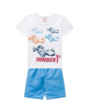 Conjunto Infantil Menino Camiseta Meia Malha E Bermuda Microfibra