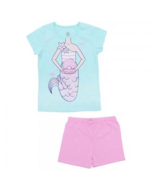 Pijama Infantil Menina Blusa Sereia E Short Meia Malha Brandili Rosa