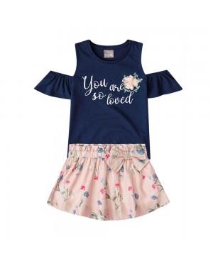 Conjunto Blusa e Saia-Short Infantil Menina Mundi Você é Tão Amada