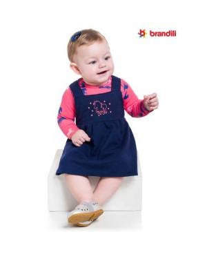 Conjunto Body Cotton e Salopete Moletinho Infantil Menina Brandili