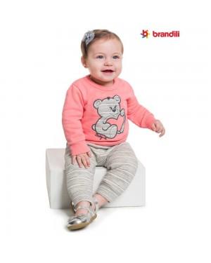 Conjunto Blusa e Calça Infantil Menina Brandili Ursinha
