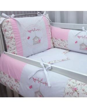 kit Berço bordado 09 peças baby art florido silk birds baby rosa