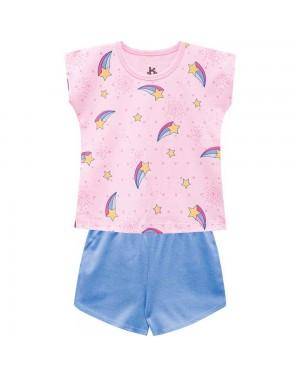 Pijama Infantil Menina Blusa E Short Meia Malha Brilha no Escuro