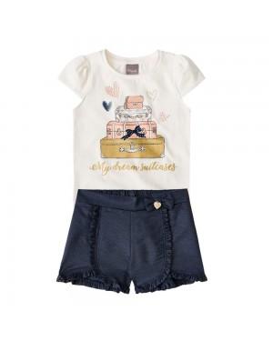 Conjunto Blusa e Short Infantil Menina Mundi