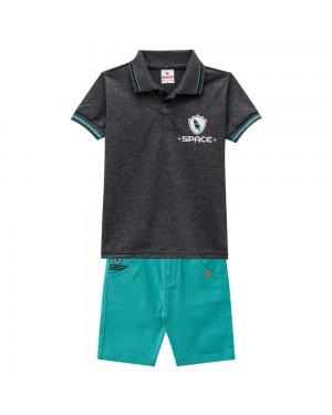 Conjunto Infantil Menino Camisa Polo Malha Estampa Space E Bermuda Verde