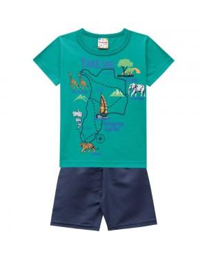 Conjunto Infantil Menino Camiseta Meia Malha E Bermuda Em Microfibra Preta