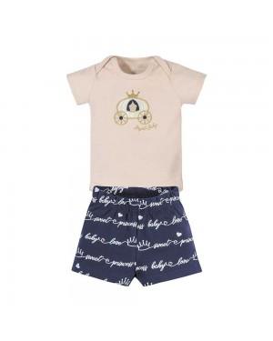 Conjunto Bebê Menina Body E Shorts Cotton Brandili Pêssego