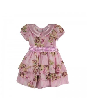 Vestido infantil menina na rosa com estampa floral