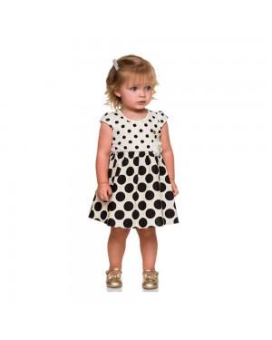 vestido infantil menina de bolinhas em cotton e tricoline milon