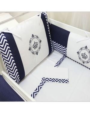 kit berço bordado 09 peças baby art chevron azul marinho