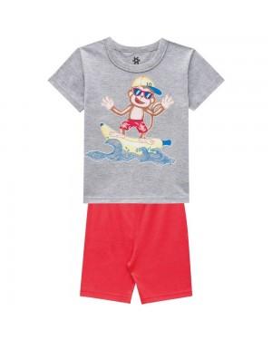 Pijama Infantil Menino Camiseta E Bermuda Cheirinho De Infância Cinza