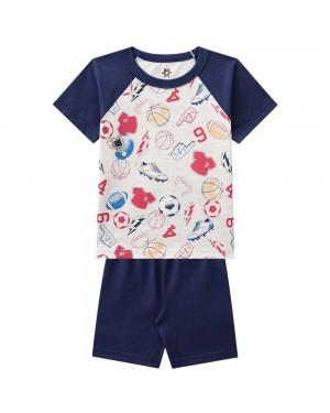 Pijama Infantil Menino Camiseta E Bermuda Estampa Divertida