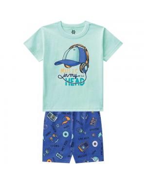 Pijama Infantil Menino Camiseta E Bermuda Estampa Brilha No Escuro Verde