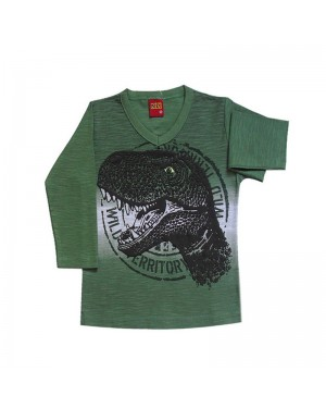 Camiseta infantil menino manga longa dinossauro