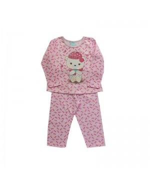 Pijama infantil menina manga longa Ursinho