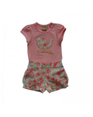 conjunto bebê menina body bordado e short estampado em flores milon