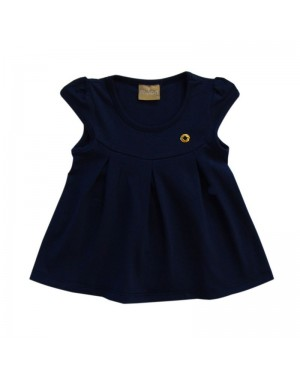 Blusa infantil menina Cotton azul Milon