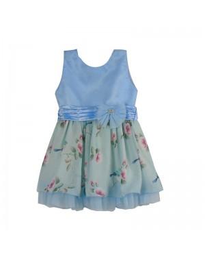 Vestido infantil menina com estampa azul floral