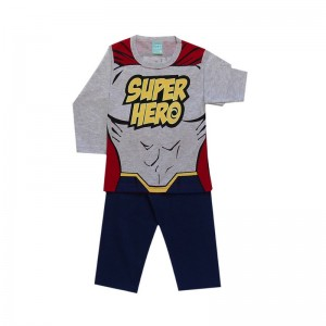 Pijama infantil menino manga longa Super-herói