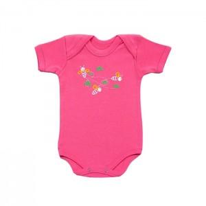 Body para bebê menina manga curta com estampa de abelhinhas