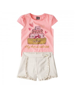Conjunto Blusa e Short Infantil Menina Mundi rosa