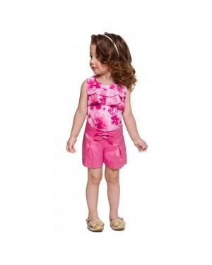 Conjunto Blusa e Short Infantil Menina Mundi pink