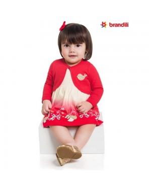 Conjunto Vestido e Bolero Infantil Menina Brandili Vermelho