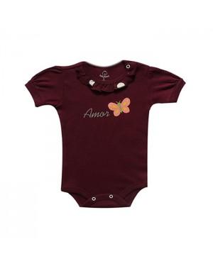 Body para bebê menina manga curta amor borboleta com babadinhos de bolinhas