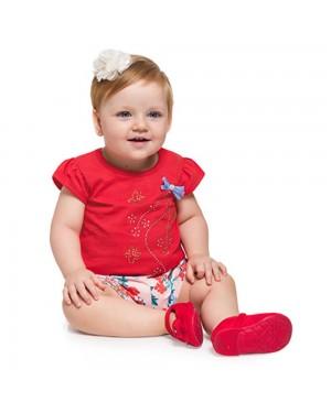 Conjunto Blusa e Short Infantil Menina Brandili Flores