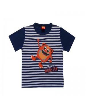 Camiseta infantil menino de listra com monstrinho