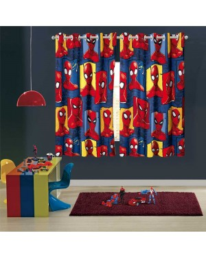 cortina infantil menino com ilhós spider man com 2 peças
