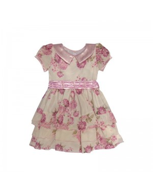 Vestido infantil para menina com estampa floral e aplique em pedraria